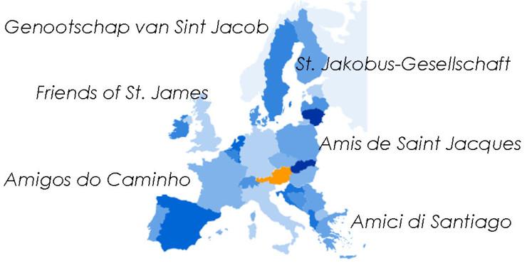 Asociaciones de Amigos del Camino de Santiago en Austria.