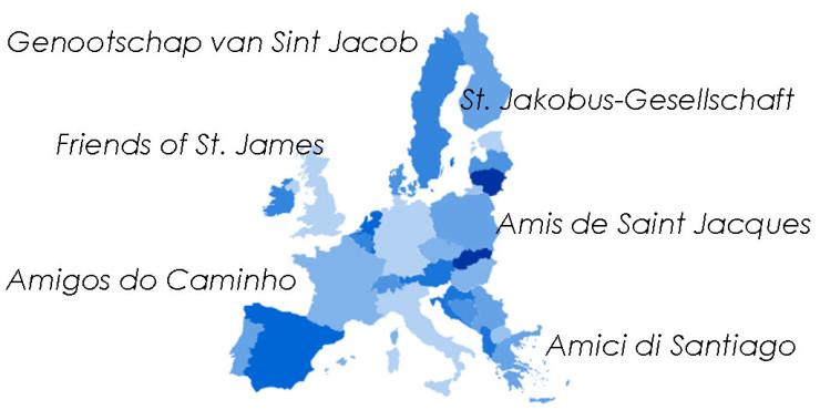 Asociaciones de Amigos del Camino de Santiago en Europa
