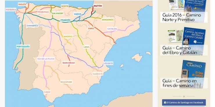 Mapa de las rutas del Camino de Santiago
