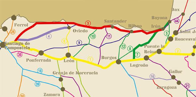 Etapas del Camino de Santiago