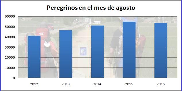 Peregrinos en el Camino de Santiago en agosto